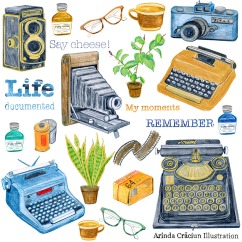 Camera Typewriter themed scrapbooking collection Arinda Craciun