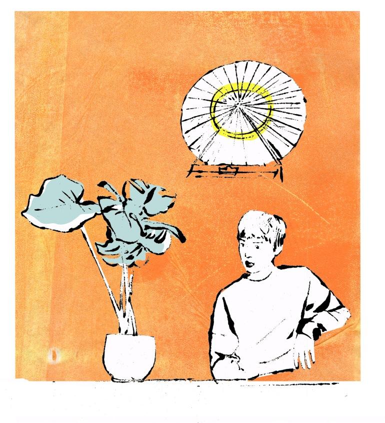 Frau Büro Gedankenkarussel Orange
