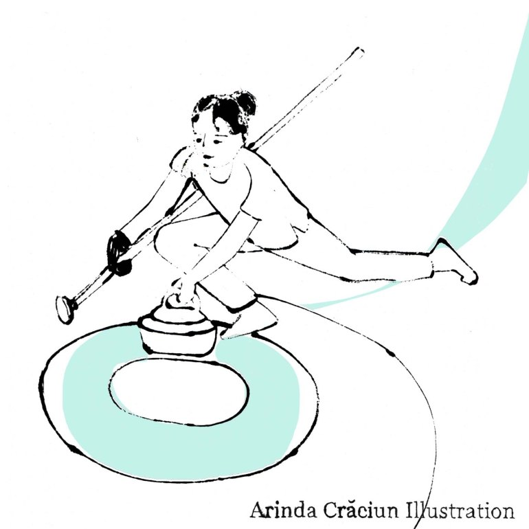 Curling Arinda Craciun Winter Olympics Olympia Illustration