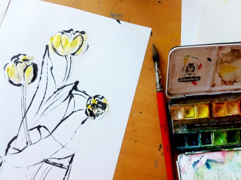 2 tulips arinda watercolur prints illustration