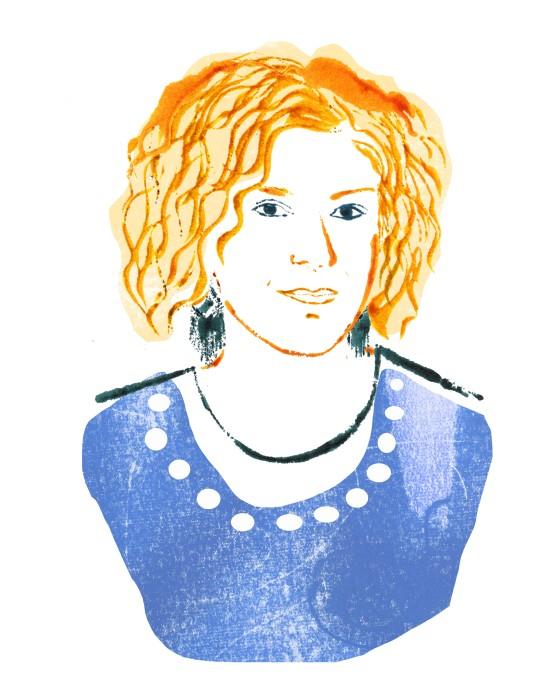 portrait brigittewoman blottedline print arindacraciun