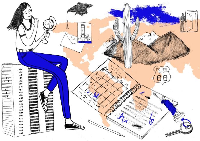 usa, reise, monoprint illustration