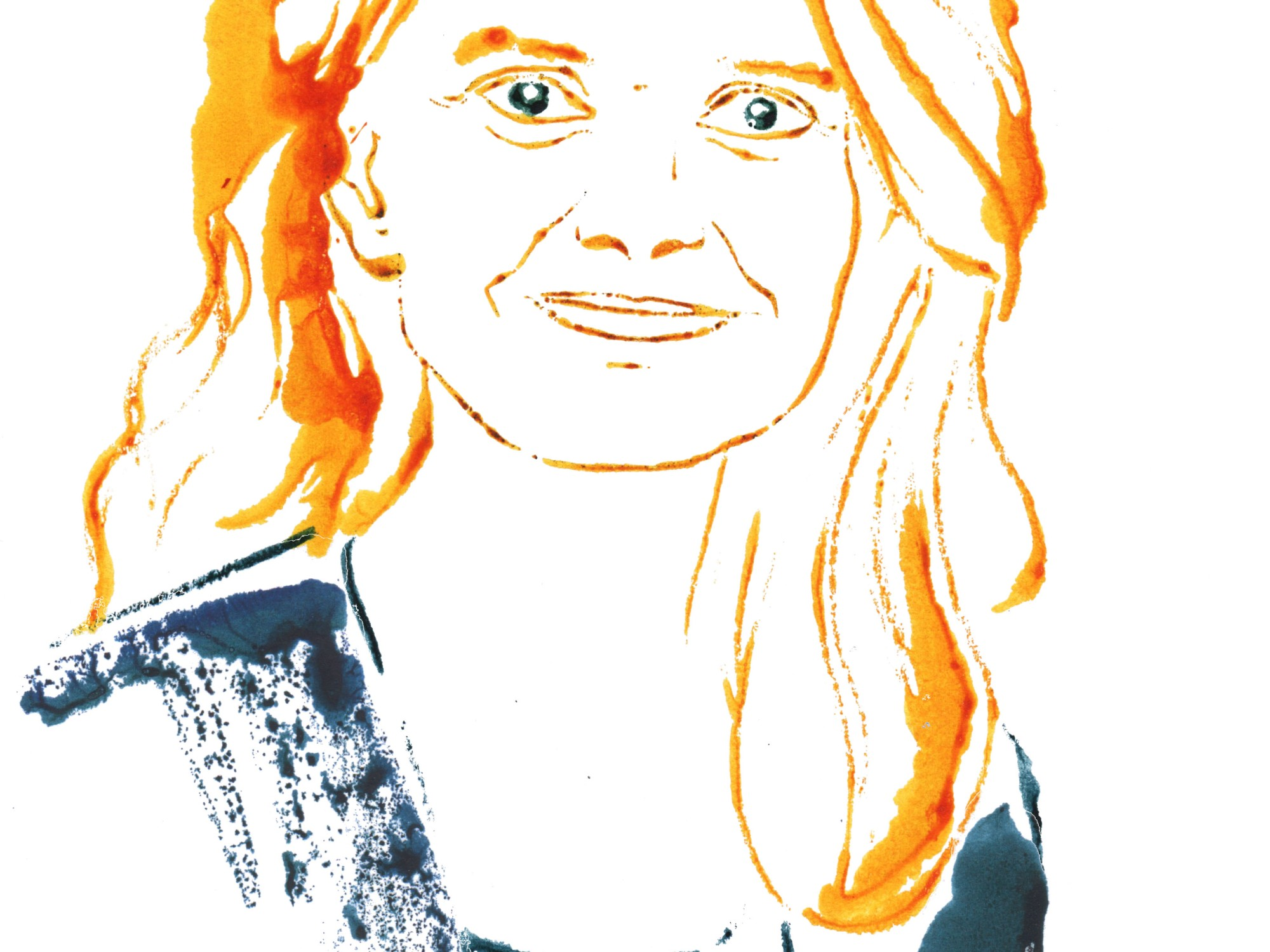 portrait brigitte woman magazine monoprint illustration blotted line